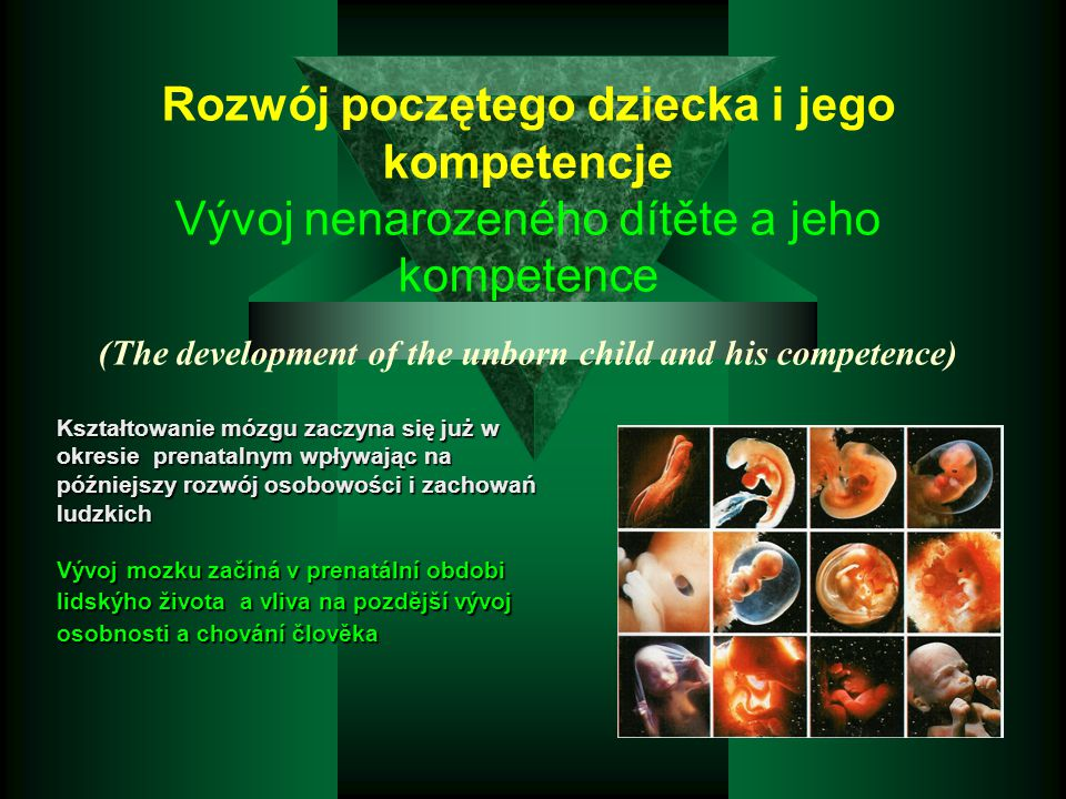 Rozwój poczętego dziecka i jego kompetencje Vývoj nenarozeného dítěte a jeho kompetence (The development of the unborn child and his competence)