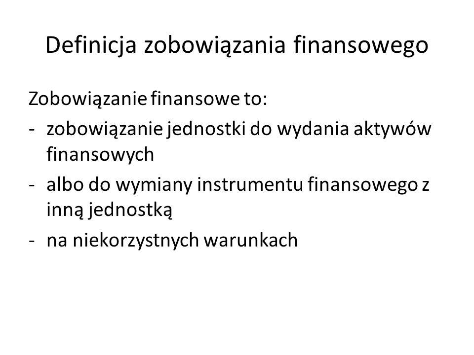 Definicja zobowiązania finansowego