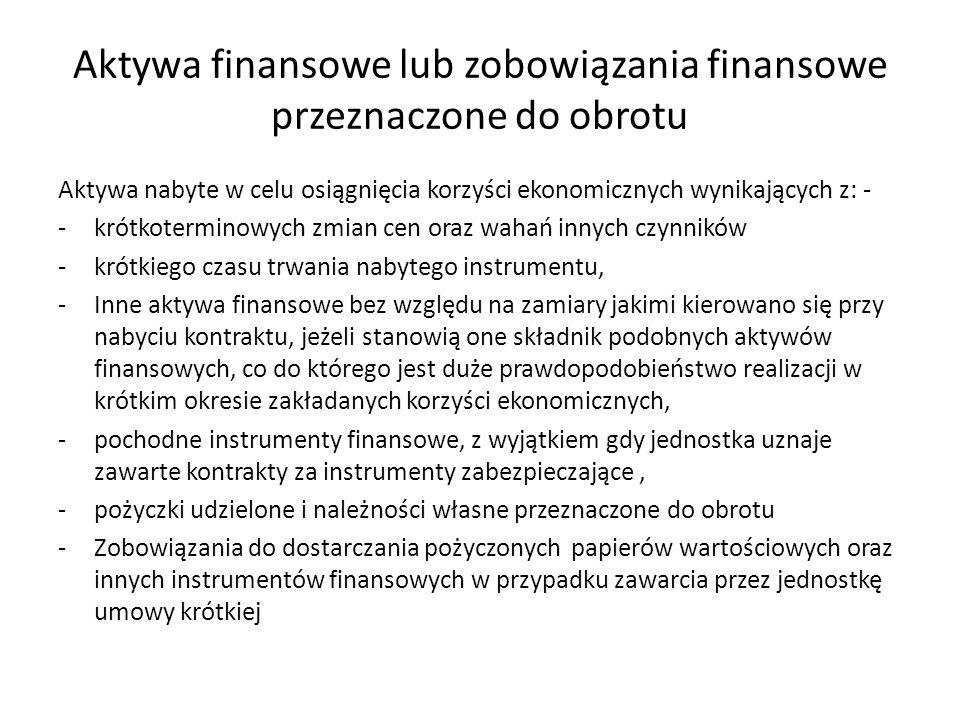 Aktywa finansowe lub zobowiązania finansowe przeznaczone do obrotu