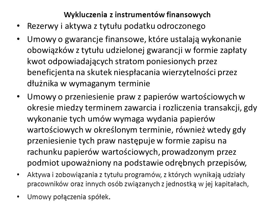 Wykluczenia z instrumentów finansowych