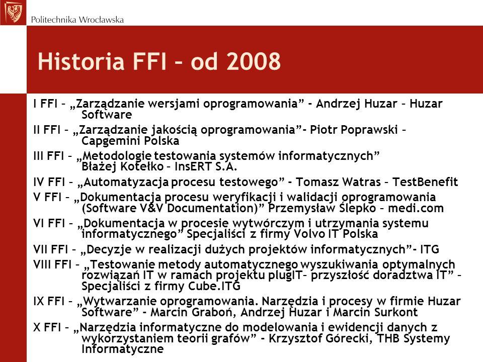 """Historia FFI – od 2008 I FFI – """"Zarządzanie wersjami oprogramowania - Andrzej Huzar – Huzar Software."""