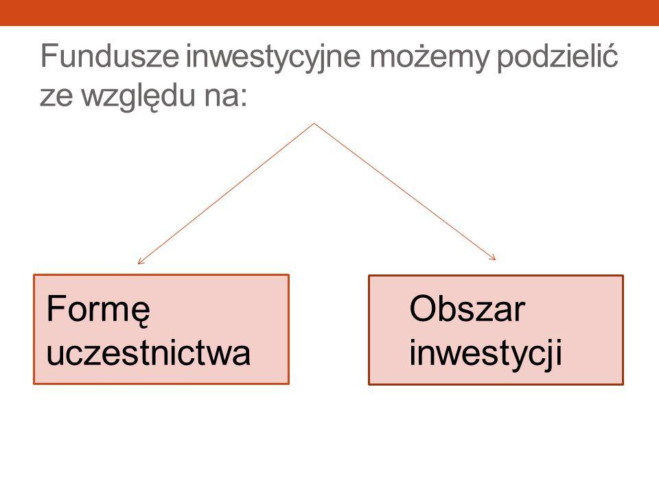 Fundusze inwestycyjne możemy podzielić ze względu na: