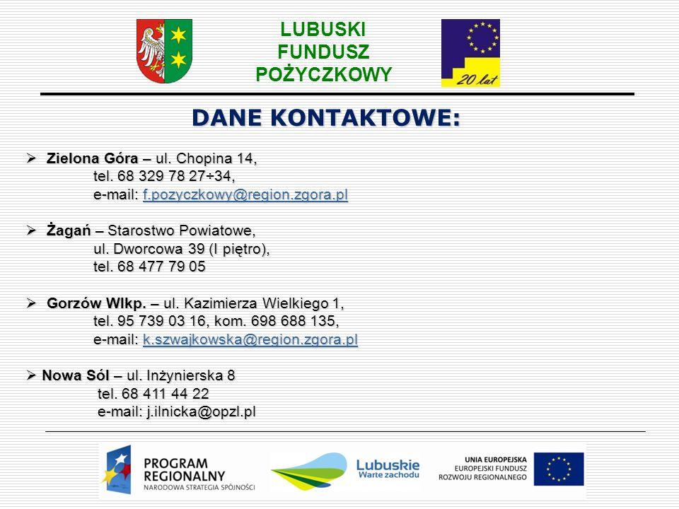 DANE KONTAKTOWE: Zielona Góra – ul. Chopina 14, tel. 68 329 78 27÷34,
