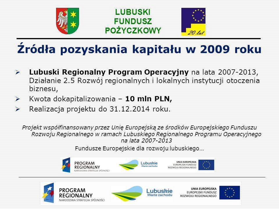 Źródła pozyskania kapitału w 2009 roku