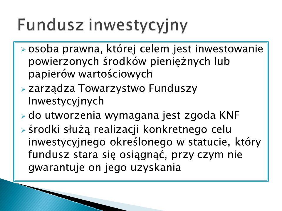 Fundusz inwestycyjny osoba prawna, której celem jest inwestowanie powierzonych środków pieniężnych lub papierów wartościowych.