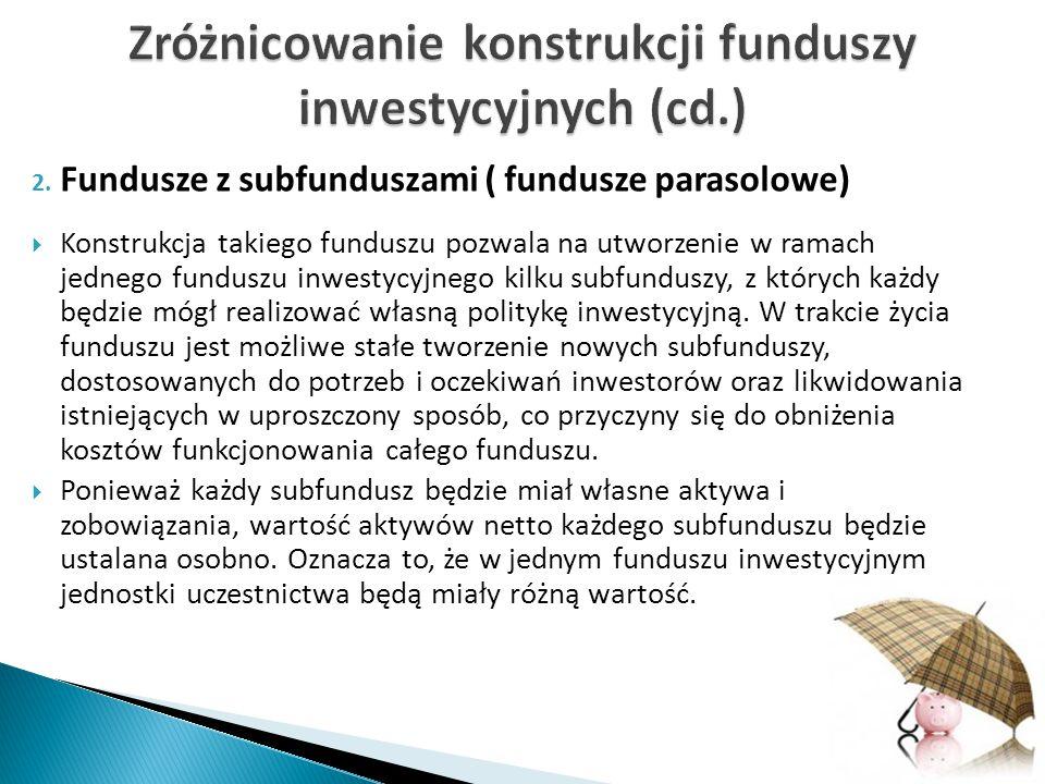 Zróżnicowanie konstrukcji funduszy inwestycyjnych (cd.)