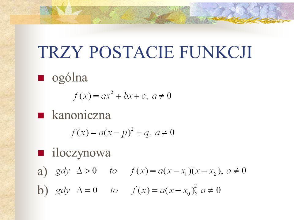 TRZY POSTACIE FUNKCJI ogólna kanoniczna iloczynowa a) b) 2
