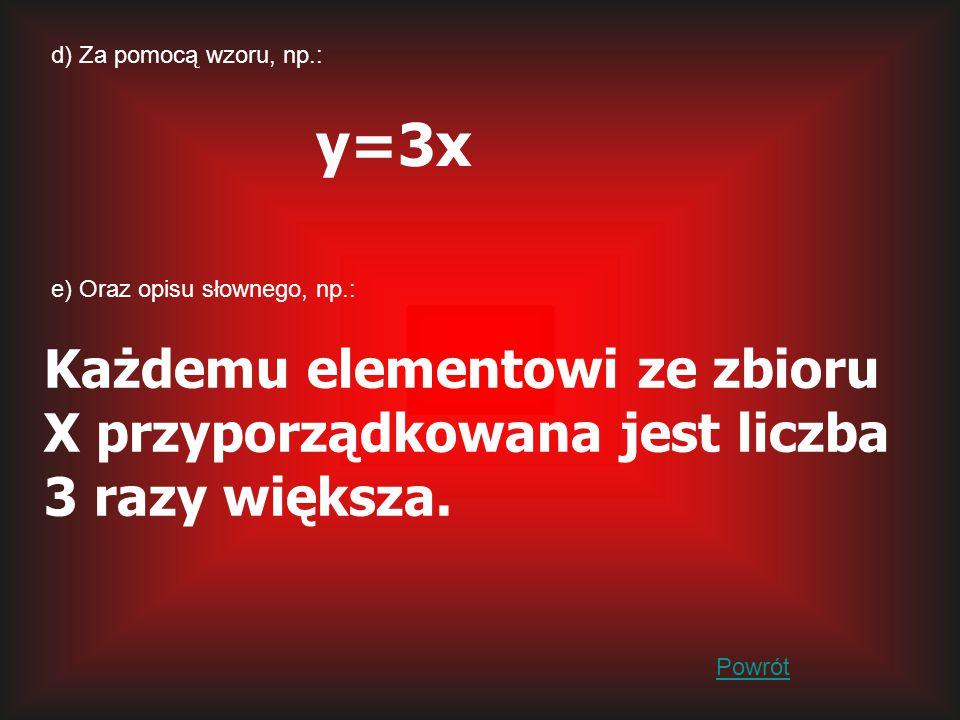d) Za pomocą wzoru, np.: y=3x. e) Oraz opisu słownego, np.: Każdemu elementowi ze zbioru X przyporządkowana jest liczba 3 razy większa.