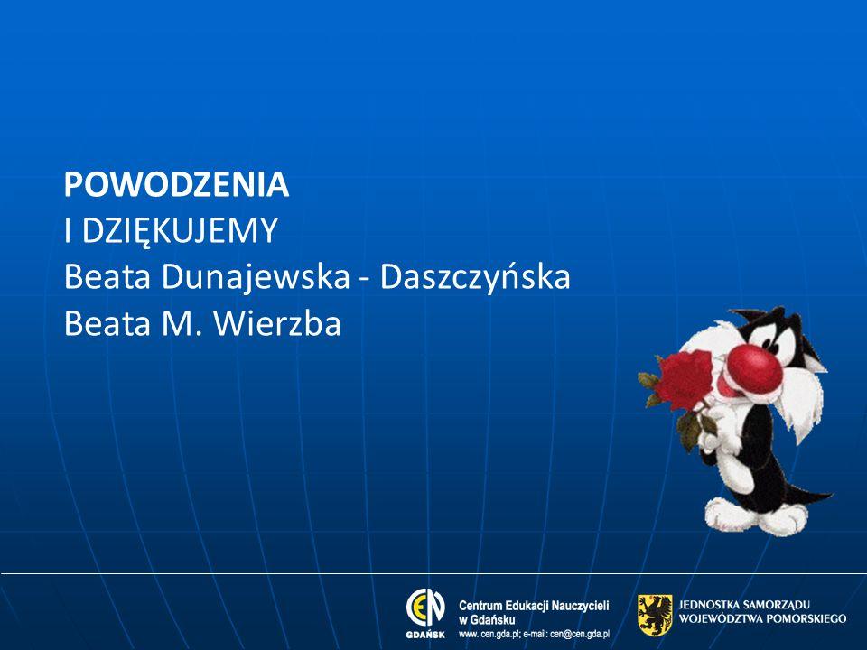 POWODZENIA I DZIĘKUJEMY Beata Dunajewska - Daszczyńska Beata M. Wierzba