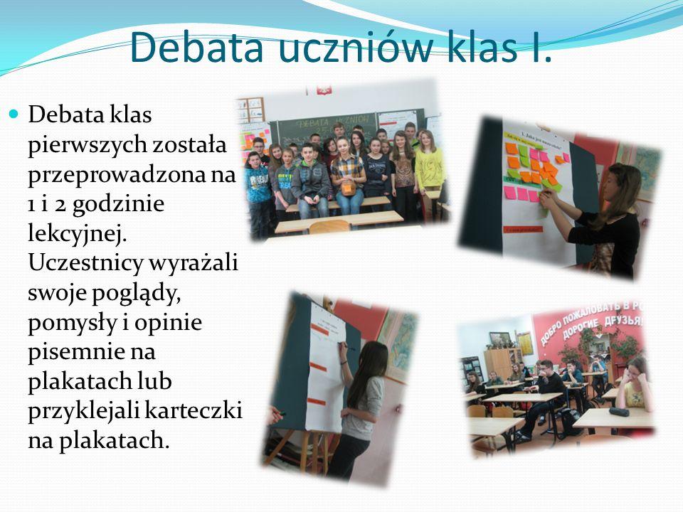 Debata uczniów klas I.