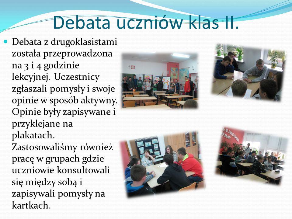Debata uczniów klas II.