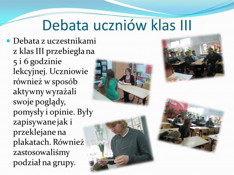 Debata uczniów klas III