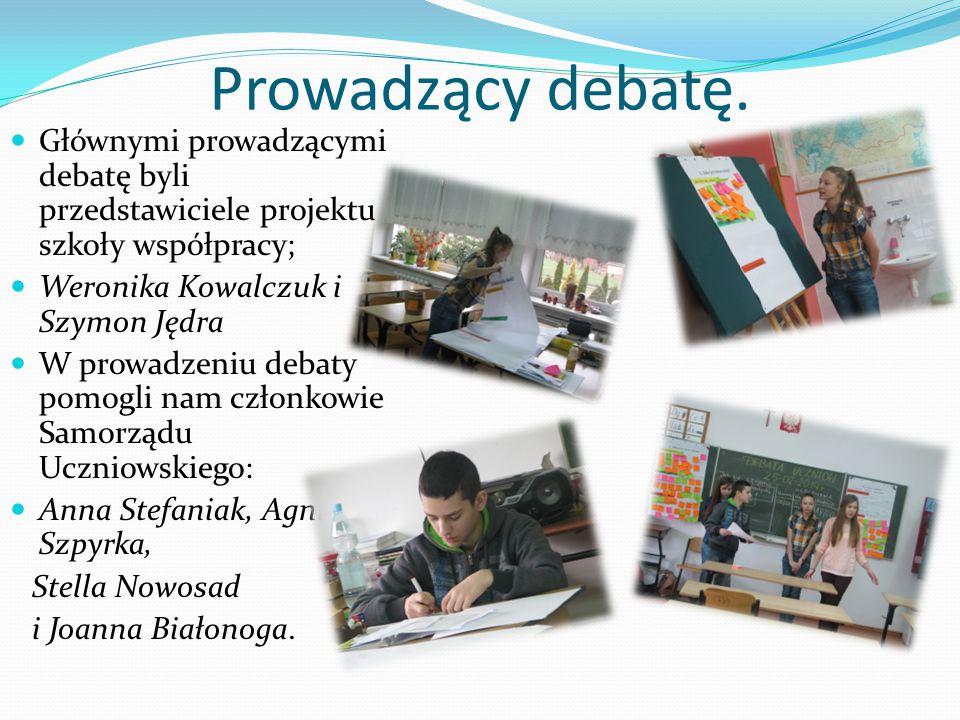 Prowadzący debatę. Głównymi prowadzącymi debatę byli przedstawiciele projektu szkoły współpracy; Weronika Kowalczuk i Szymon Jędra.