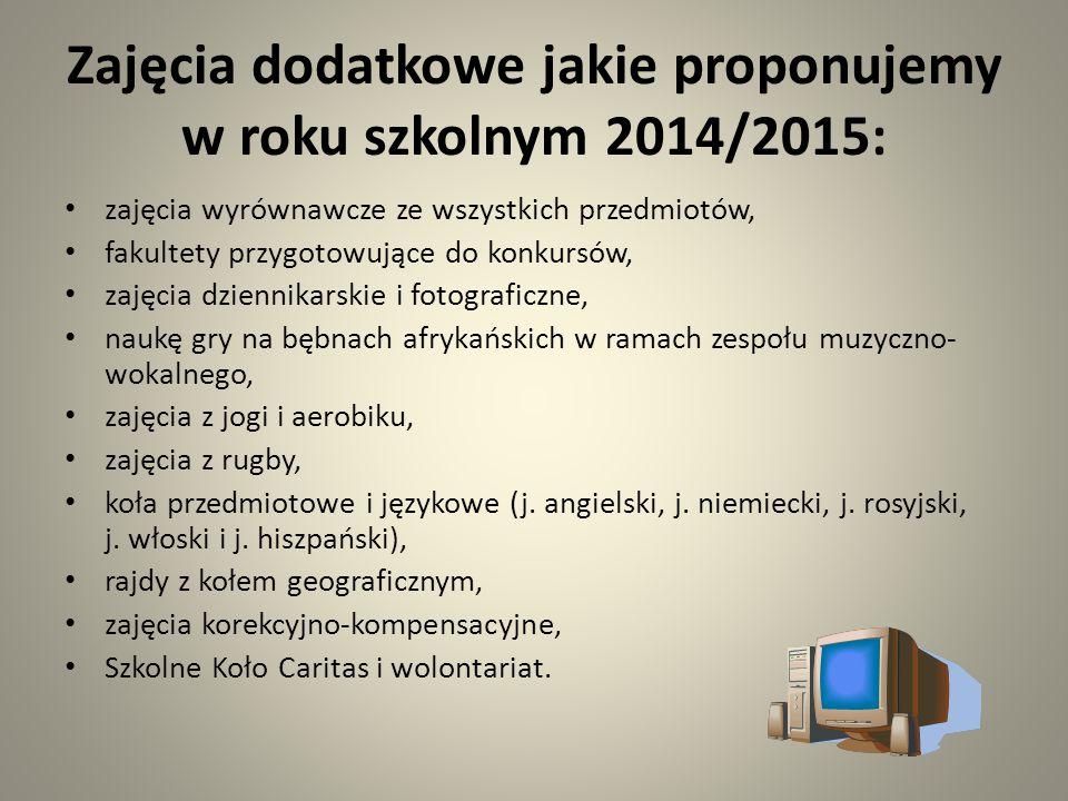 Zajęcia dodatkowe jakie proponujemy w roku szkolnym 2014/2015: