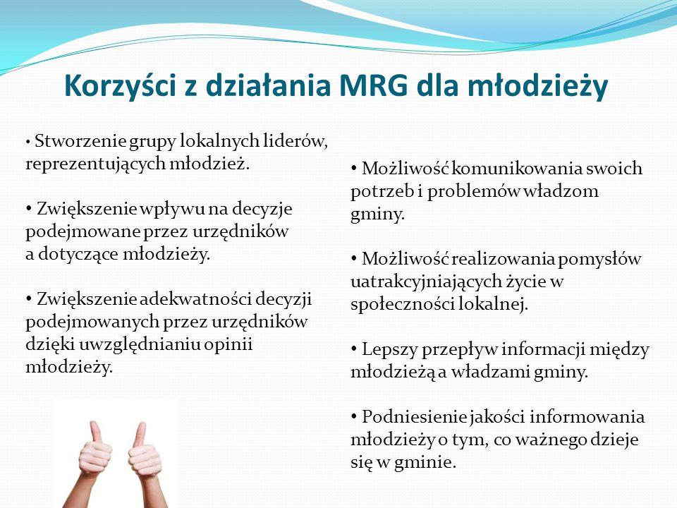 Korzyści z działania MRG dla młodzieży