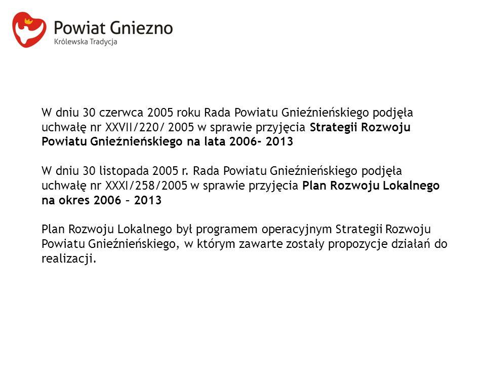 W dniu 30 czerwca 2005 roku Rada Powiatu Gnieźnieńskiego podjęła uchwałę nr XXVII/220/ 2005 w sprawie przyjęcia Strategii Rozwoju Powiatu Gnieźnieńskiego na lata 2006- 2013