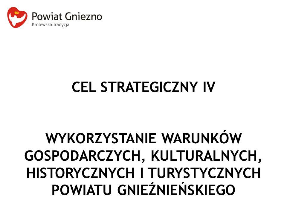 CEL STRATEGICZNY IV WYKORZYSTANIE WARUNKÓW GOSPODARCZYCH, KULTURALNYCH, HISTORYCZNYCH I TURYSTYCZNYCH POWIATU GNIEŹNIEŃSKIEGO.