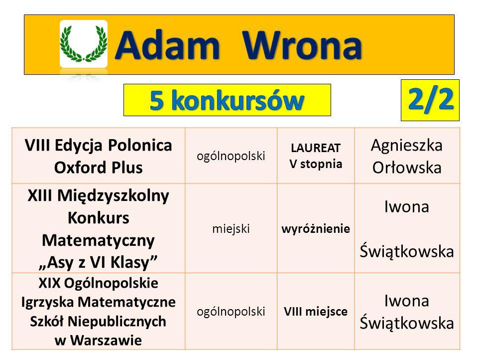Adam Wrona 2/2 5 konkursów VIII Edycja Polonica Oxford Plus