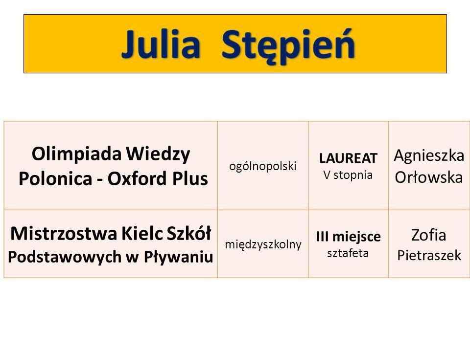 Julia Stępień Olimpiada Wiedzy Polonica - Oxford Plus