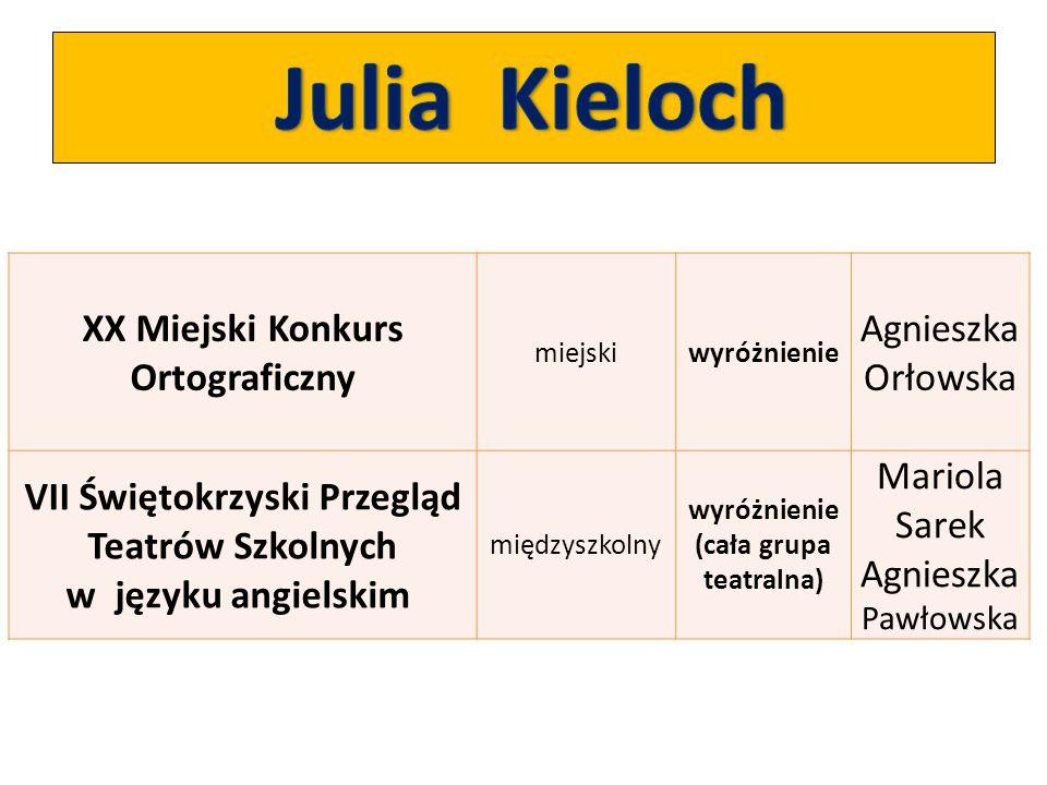 Julia Kieloch XX Miejski Konkurs Ortograficzny Agnieszka Orłowska