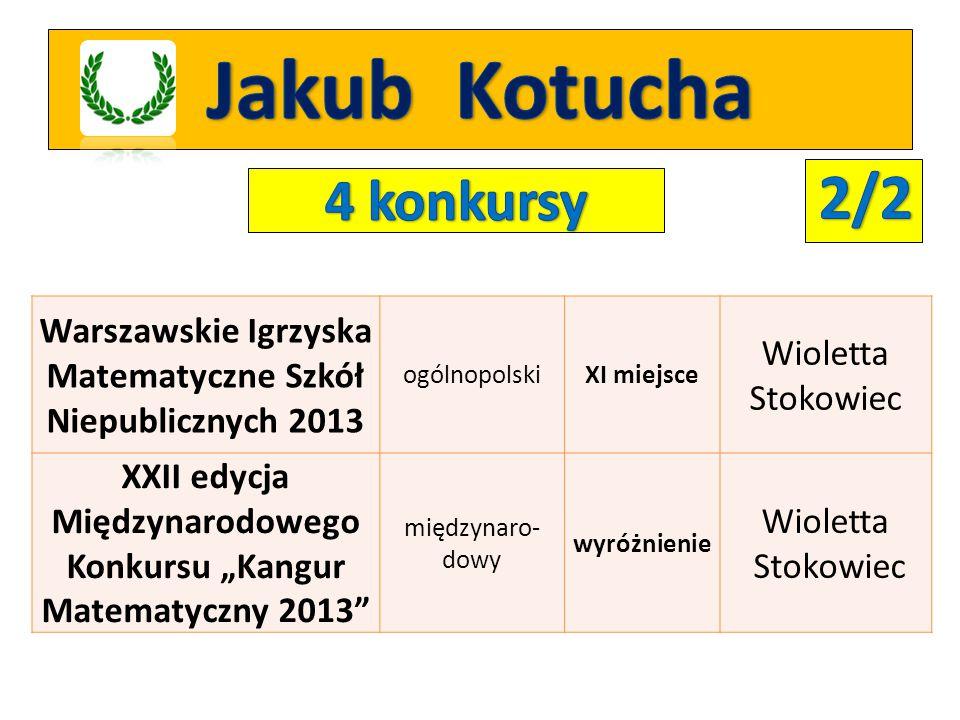 Jakub Kotucha 2/2 4 konkursy