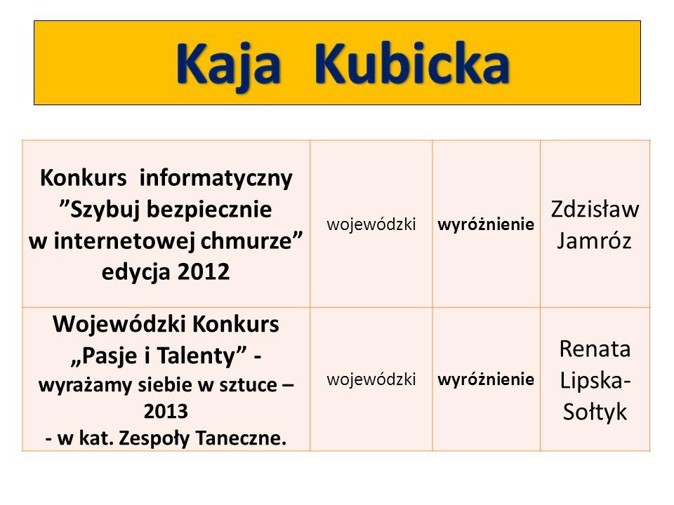 Kaja Kubicka Konkurs informatyczny Szybuj bezpiecznie w internetowej chmurze edycja 2012. wojewódzki.