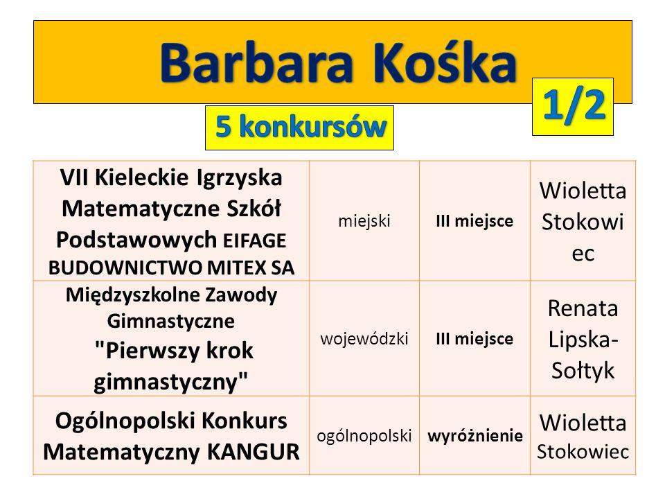 Barbara Kośka 1/2 5 konkursów