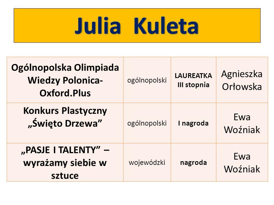 Julia Kuleta Ogólnopolska Olimpiada Wiedzy Polonica-Oxford.Plus