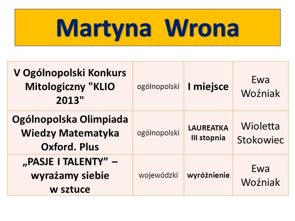 Martyna Wrona V Ogólnopolski Konkurs Mitologiczny KLIO 2013