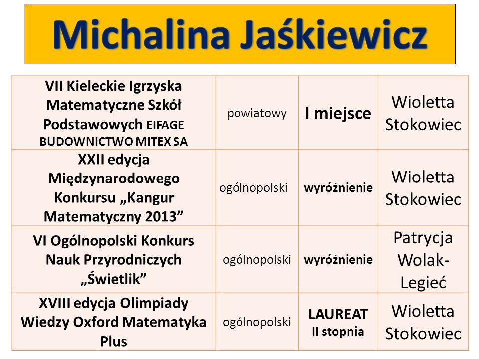 Michalina Jaśkiewicz Wioletta Stokowiec I miejsce
