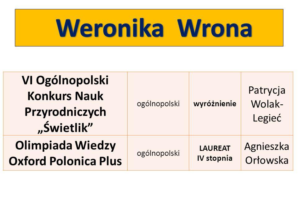"""Weronika Wrona VI Ogólnopolski Konkurs Nauk Przyrodniczych """"Świetlik"""