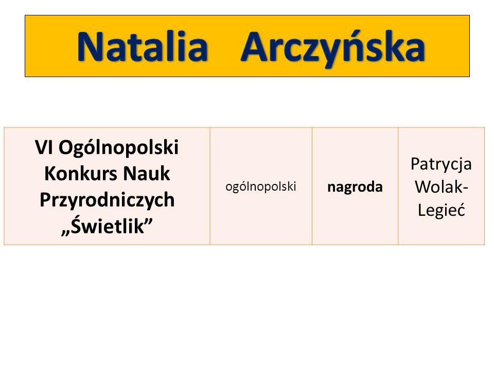 """VI Ogólnopolski Konkurs Nauk Przyrodniczych """"Świetlik"""