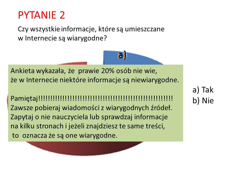 PYTANIE 2 a) Tak b) Nie Czy wszystkie informacje, które są umieszczane