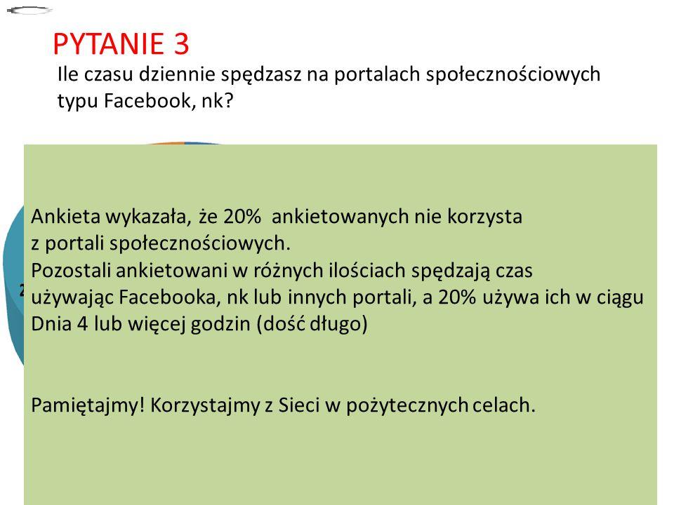 PYTANIE 3 Ile czasu dziennie spędzasz na portalach społecznościowych typu Facebook, nk około 10 minut.