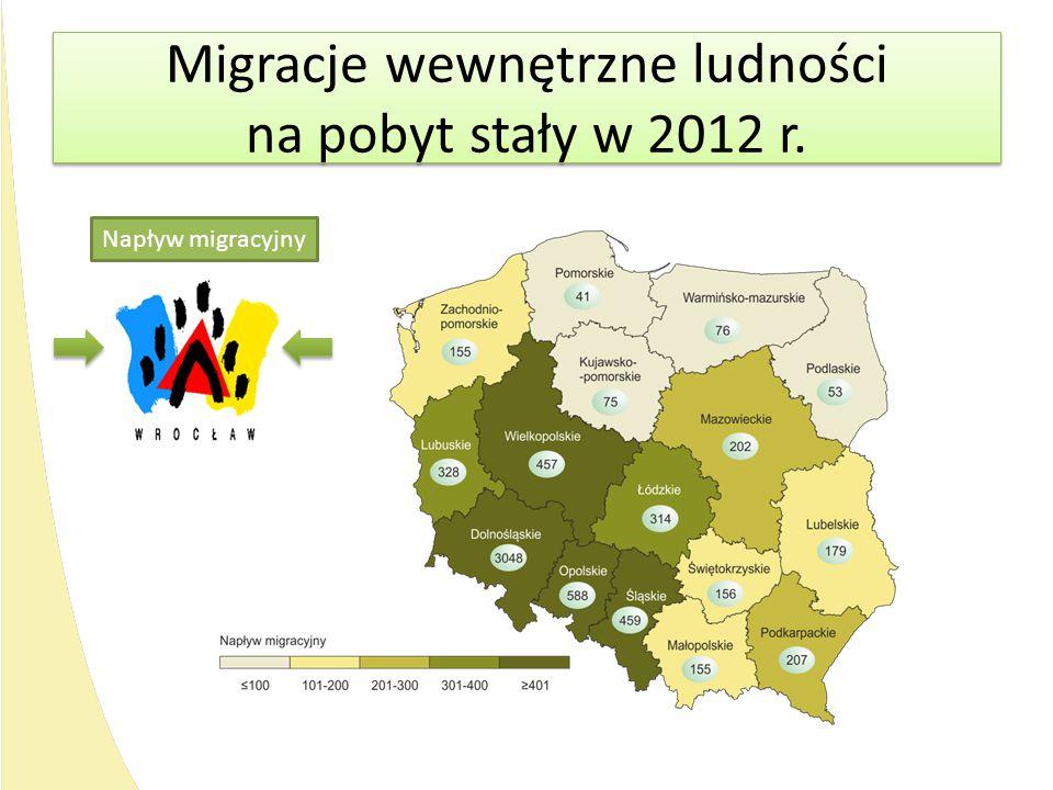 Migracje wewnętrzne ludności na pobyt stały w 2012 r.