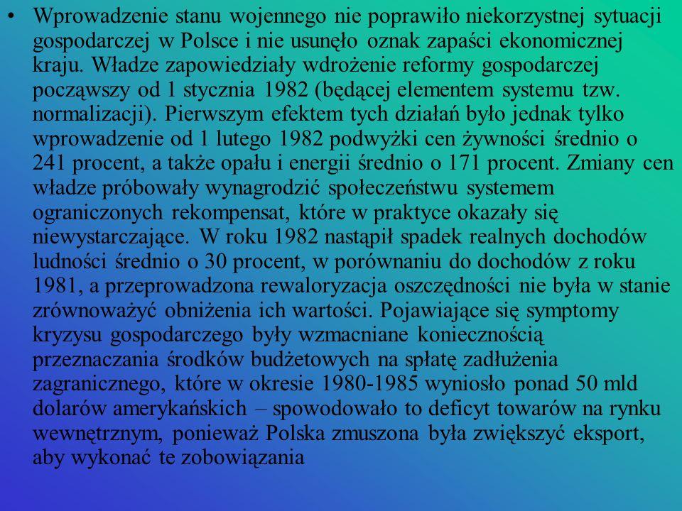Wprowadzenie stanu wojennego nie poprawiło niekorzystnej sytuacji gospodarczej w Polsce i nie usunęło oznak zapaści ekonomicznej kraju.