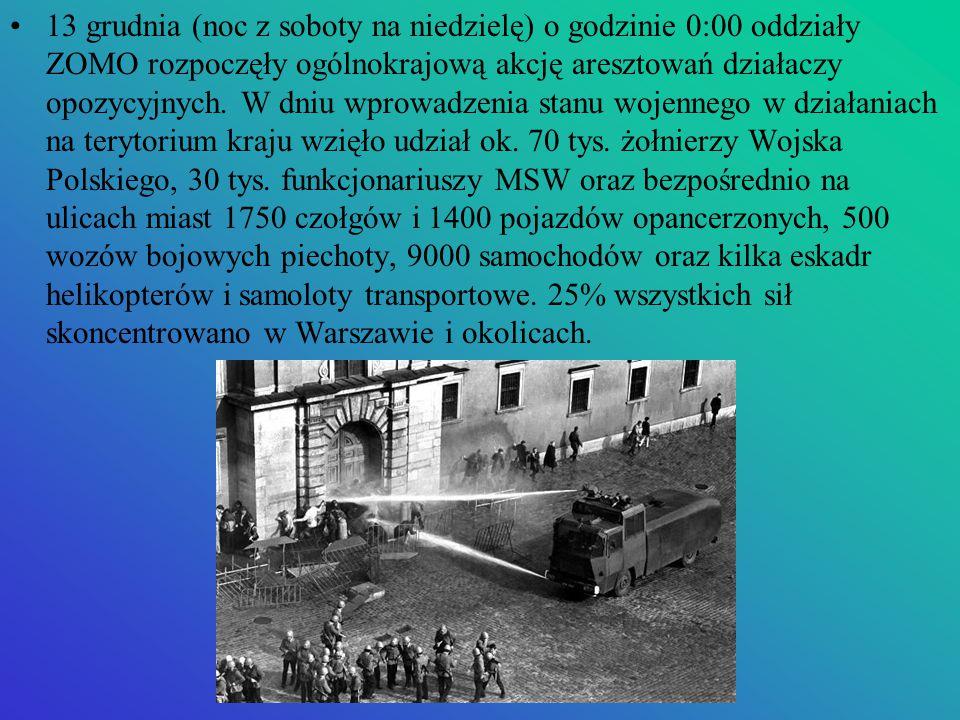 13 grudnia (noc z soboty na niedzielę) o godzinie 0:00 oddziały ZOMO rozpoczęły ogólnokrajową akcję aresztowań działaczy opozycyjnych.