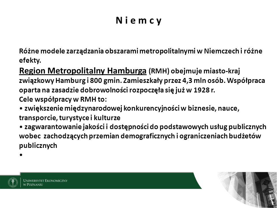 N i e m c y Różne modele zarządzania obszarami metropolitalnymi w Niemczech i różne efekty.