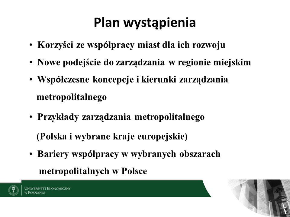 Plan wystąpienia Korzyści ze współpracy miast dla ich rozwoju