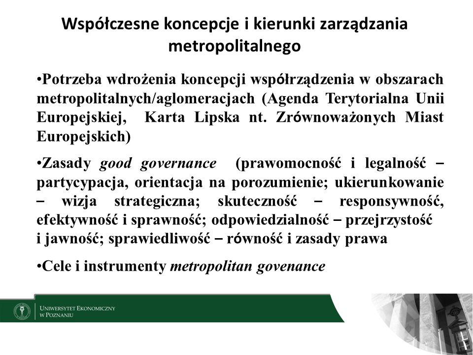 Współczesne koncepcje i kierunki zarządzania metropolitalnego