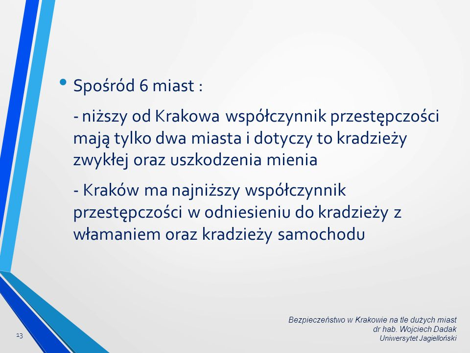 Spośród 6 miast : - niższy od Krakowa współczynnik przestępczości mają tylko dwa miasta i dotyczy to kradzieży zwykłej oraz uszkodzenia mienia.