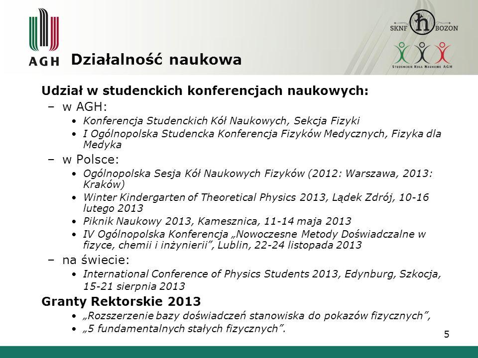 Działalność naukowa Udział w studenckich konferencjach naukowych: