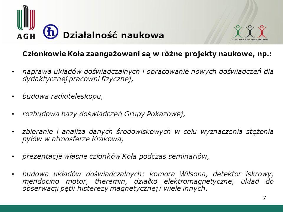 Działalność naukowa Członkowie Koła zaangażowani są w różne projekty naukowe, np.:
