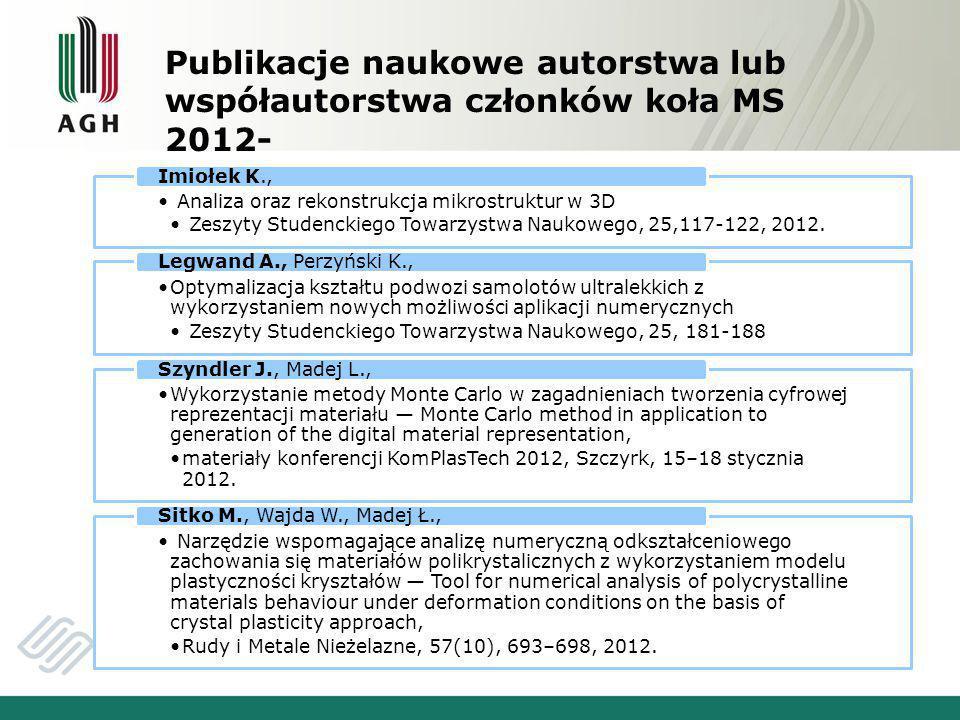 Publikacje naukowe autorstwa lub współautorstwa członków koła MS 2012-
