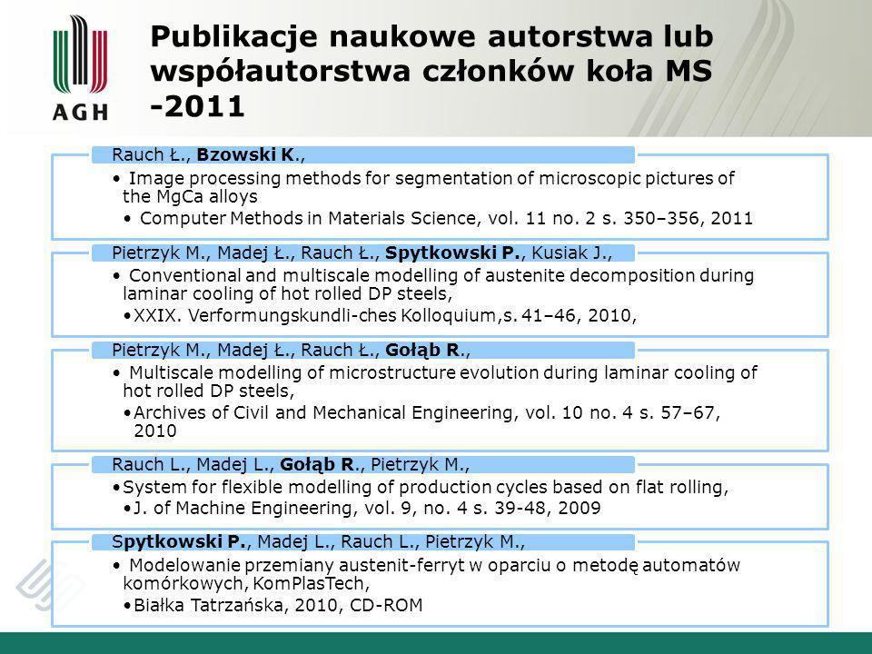 Publikacje naukowe autorstwa lub współautorstwa członków koła MS -2011