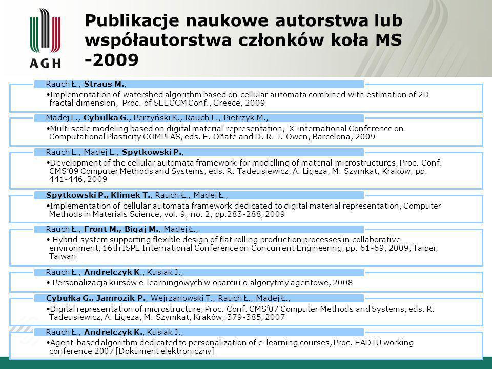 Publikacje naukowe autorstwa lub współautorstwa członków koła MS -2009