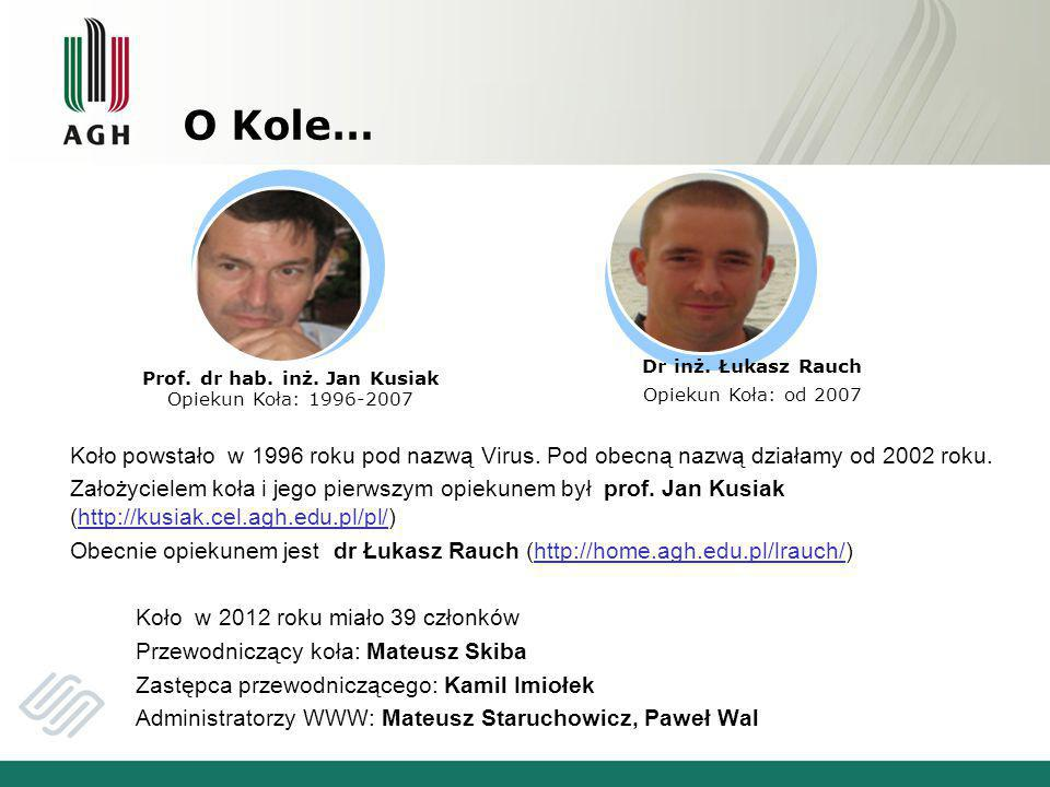 Prof. dr hab. inż. Jan Kusiak Opiekun Koła: 1996-2007