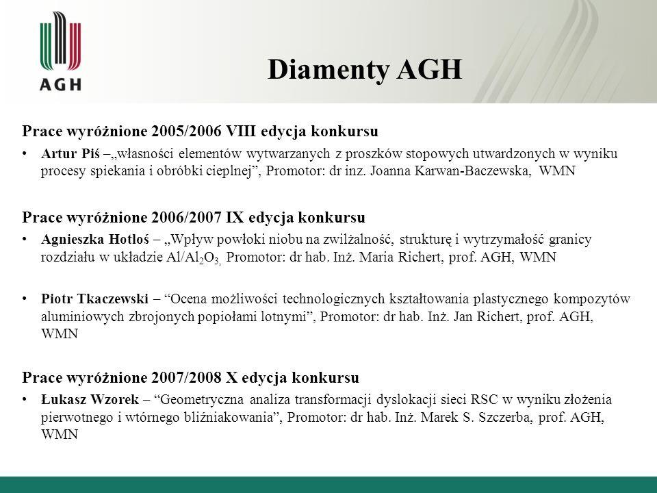 Diamenty AGH Prace wyróżnione 2005/2006 VIII edycja konkursu