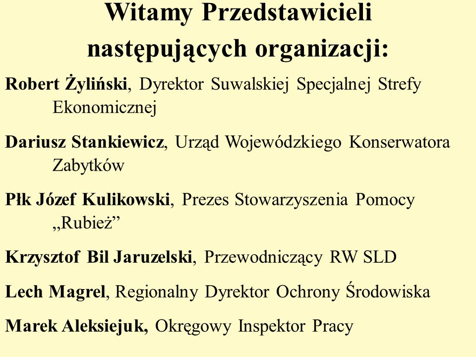 Witamy Przedstawicieli następujących organizacji:
