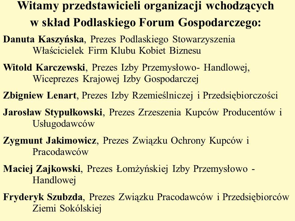 Witamy przedstawicieli organizacji wchodzących w skład Podlaskiego Forum Gospodarczego: